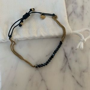 Stella and Dot Gold & Blue Beaded Bracelet